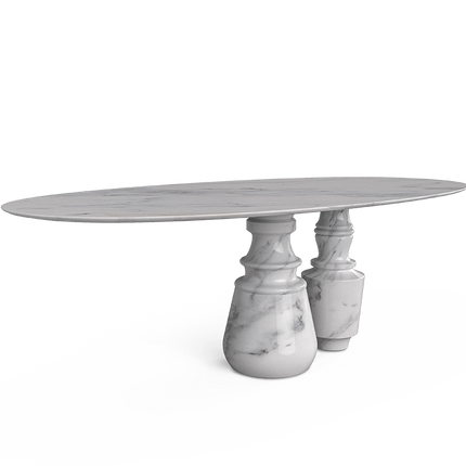 Tables - PIETRA OVAL CALACATTA Dining Table - BOCA DO LOBO
