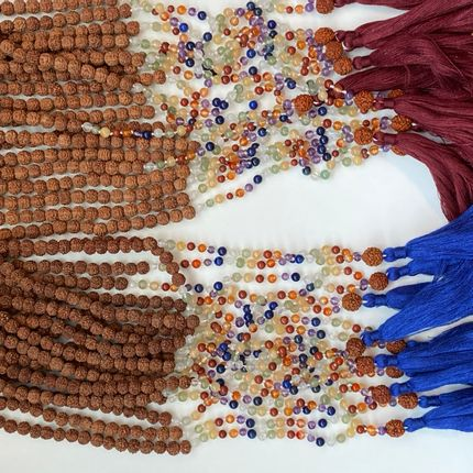 Jewelry - Lucky Mala Charm in Rudraksha with 7 Shakras Gemstones - PECHAAN