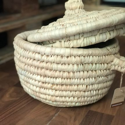 Storage - Wilery Palm Basket with Lid - MAISON ZOE