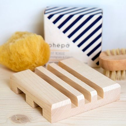 Installation accessories - MIDDLE wooden soap dish in raw Maple wood - OHËPO