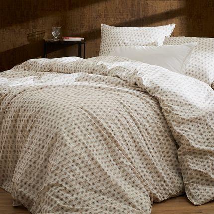 Bed linens - Washed organic cotton percale - Naturel Palmette bed linen - DORAN SOU