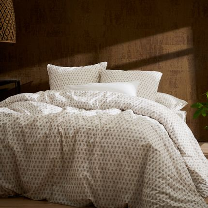 Bed linens - Washed organic cotton percale - Naturel Palmette bed linen - DORAN SOU