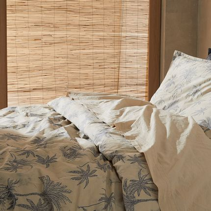 Linge de lit - Percale de coton bio lavée - Linge de lit Amour Lointain Coquillage - DORAN SOU