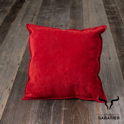 Decorative objects - Double face leather cushion - STUDIO SABATIER