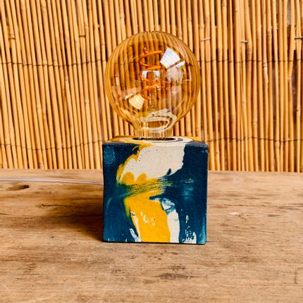 Decorative objects - Concrete Lamp | Cube | Yellow and Petrol Blue Marble - JUNNY
