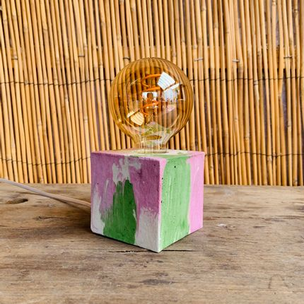 Table lamps - Concrete Lamp | Cube | Pastel pink and green marble - JUNNY