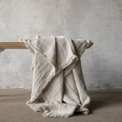 Throw blankets - Rustico Fringe Linen Throws - LINENME