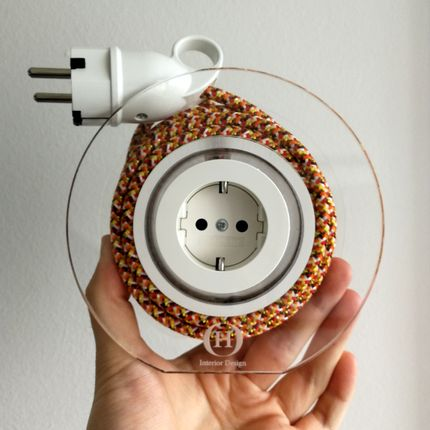 Design objects - Extension Cord for 2 Plugs - Orange Pixel - OH INTERIOR DESIGN