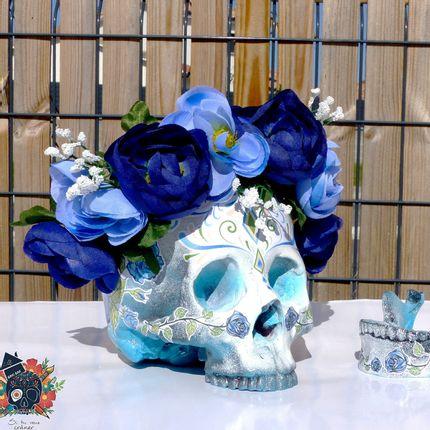 Objets de décoration - Home'Skull, Tête de mort, Tête de mort, Tête de mort XL Calaveras Dia de los muertos Bleu Rose - HOME SKULL