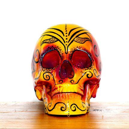 Objets de décoration - Home'Crâne, tête de mort, Crâne xl Calaveras Dia de los muertos Mandala Fuego - HOME SKULL