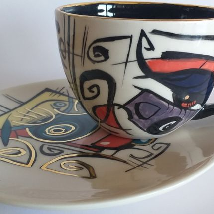 Céramique - Enigma cups&saucers /DORA - ENIGMA