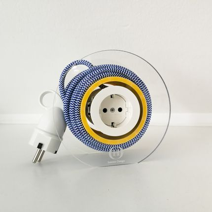 Design objects - Extension Cord for 2 Plugs - Navy&White&Yellow - OH INTERIOR DESIGN