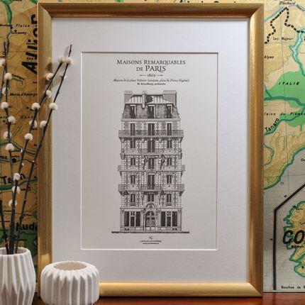 Papeterie - Affiche Immeuble parisien place Voltaire Architecture - L'ATELIER LETTERPRESS