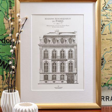 Affiches - Affiche Immeuble parisien Champs-Elysées Architecture - L'ATELIER LETTERPRESS