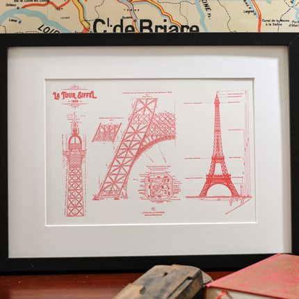 Poster - Art print Original Blueprint of the Eiffel Tower - L'ATELIER LETTERPRESS