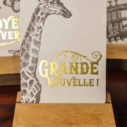 Papeterie / carterie / écriture - Carte Girafe Grande Nouvelle - L'ATELIER LETTERPRESS