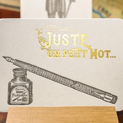 Stationery / Card shop / Writing - Card Fountain Pen Just a Word - L'ATELIER LETTERPRESS