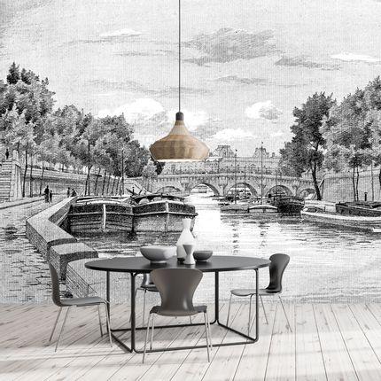Papiers peints - Papier Peint Panoramique Gravure - La Seine - CIMENT FACTORY