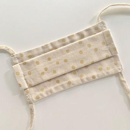 Scarves - Adult Afnor Standard Fabric Mask Gold Polka Dot Model - LES LOVERS DECO
