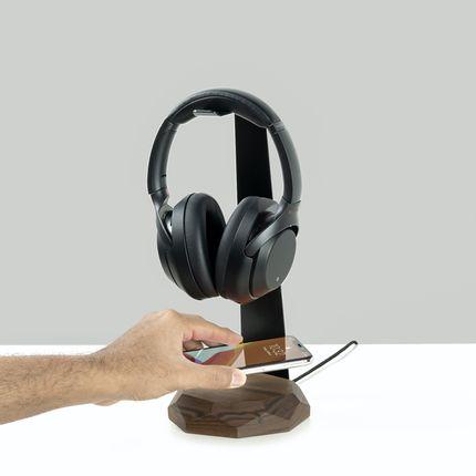 Range tout - Support pour casque 2 en 1 et chargeur sans fil - OAKYWOOD