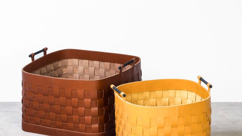 RABITTI1969 - LEATHER WOVEN BASKETS & BOXES