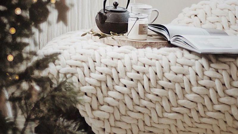 PANAPUFA - Chevron couvre-lit en laine
