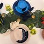 Assiettes au quotidien - ½ & ½ Melamine Light Blue / Navy Blue Dinner Plate - Set of 4 - THOMAS FUCHS CREATIVE