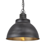 Pendant lamps - Brooklyn Dome Pendant - 13 Inch - Pewter & Brass - INDUSTVILLE
