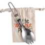 Kitchen utensils - Stainless steel spork in organic cotton pouch - LIFE WITHOUT PLASTIC
