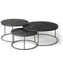 Coffee tables - Teak Tabwa round nesting coffee table set - ETHNICRAFT