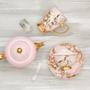 Accessoires thé / café - Tasse à thé et soucoupe en quartz rose - CRISTINA RE