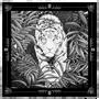 Pochettes -  POCHETTE COSTUME - LEGEND BLACK & WHITE - 100 % twill de soie imprimé - 30 x 30 cm - ourlet à plat - Maison Fétiche - MAISON FÉTICHE