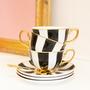 Accessoires thé / café - Tasse à thé et soucoupe à rayures ébène - CRISTINA RE