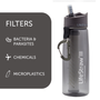 Travel accessories / suitcase - Bottle with water filter 0.65L, BPA-free plastic, gray - LIFESTRAW®