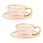 Cadeaux - Lot de 2 tasses à thé et soucoupe en verre rose - CRISTINA RE