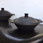 Platter and bowls - Dish or salad bowl in black earth - FLOATING HOUSE COLLECTION