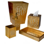 Bathroom waste baskets - Monogram gold wastebasket - MIKE + ALLY
