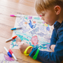 Loisirs créatifspour enfant - BARRIERE DE CORAIL :1 set en silicone + 5 feutres + 1 bracelet FACILE A NETTOYER – REUTILISABLE – A PARTIR DE 3ANS  - SUPERPETIT