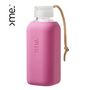 Gifts - REUSABLE GLASS BOTTLE RASPBERRY PINK  (600ml)  SQUIREME. Y1 SUSTAINABLE - SQUIREME.