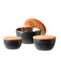 Food storage - BITZ Bowl set w. lid 3 pcs. Black/Bronze - BITZ