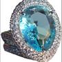 Bijoux - Bagues rhodiées avec zircone cubique pavé et pierre facettée d'eau de mer - L'OFFICIEL SRL