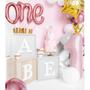"""Objets de décoration - Nombre de ballons en aluminium «1"""", 30x90cm, rose clair - PARTYDECO"""