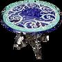 Tables de jardin -  Table ronde en grès peint à la main de style Vietri avec pied en fer artistique diamètre 80 cm - CERASELLA CERAMICHE